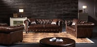 New Leather Chesterfield Sofa and Loveseat Living Room Couch Bethesda