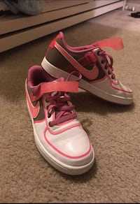 Pair of white, brown, and pink nike sneakers size 8 Virginia Beach