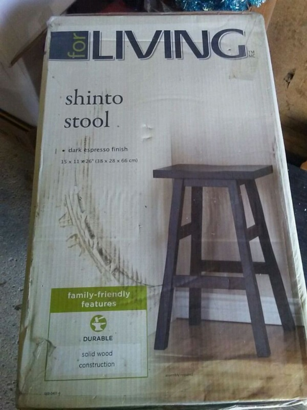 Solid wood shinto stool in box.