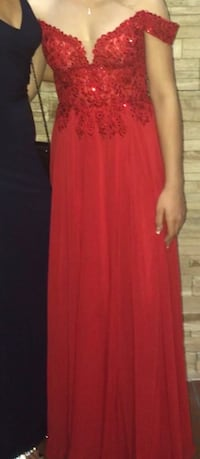 Worn once for prom in June. Girl wearing this gown is 5 foot 2 wearing 3 inch heels. Hallandale Beach, 33009