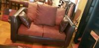 BROWN LEATHER AND SUEDE LOVESEAT