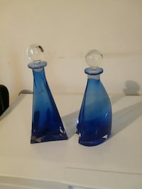 two blue translucent glass vases with lids. Fenton, 63026