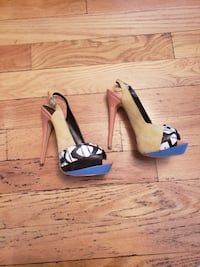 pair of women's brown-and-blue leather open-toe platform stiletto pumps