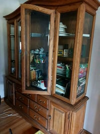 brown wooden framed glass display cabinet 3157 km
