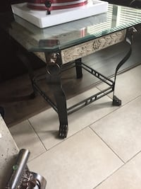 black metal framed glass top table Langley, V4W 1S3