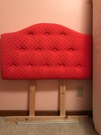 Twin tufted headboard, coral