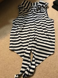 Navy blue and white stripe sleeveless blouse Plum, 15239