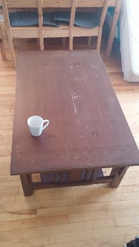 rectangular brown wooden coffee table Montreal