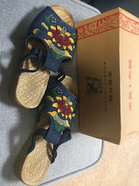 Denim Embroidered Sandals Size 6/6.5 Woodbridge, 22192