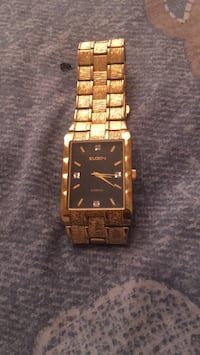 square gold analog watch with gold link bracelet Baltimore, 21201