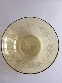 ANTIQUE - Yellow Amber Depression Glass Serving Bowl - Sharon Cabbage Rose - 1930's
