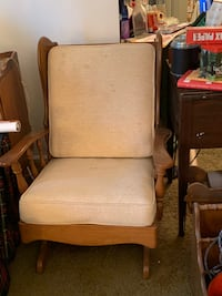 brown wooden frame white padded armchair ANNANDALE
