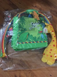 yellow and green Giraffe accent activity mat with apck