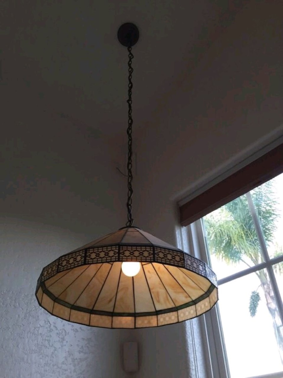 Faux Stained Glass Hanging Light.