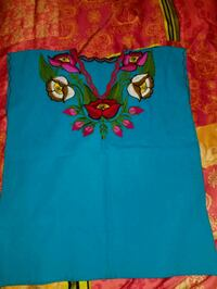 red and blue embroidery Oaxacan blouse Fresno, 93703