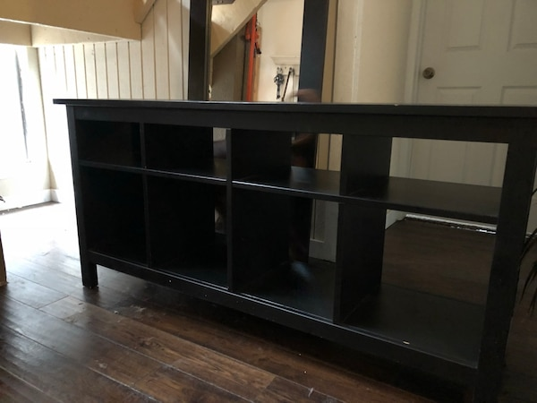 Black wooden tv stand with cabinet