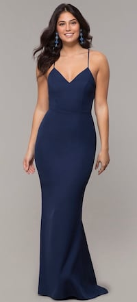 Corset Long Prom Dress in Navy Blue