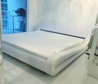 White curvy modern leather king size bed furniture platform Miami, 33131
