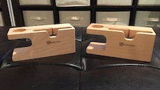 Wooden iPhone and Apple Watch charging dock