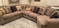 Gray fabric sectional sofa with throw pillows Union City, 07087