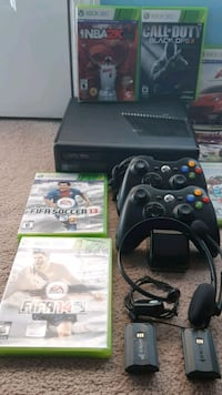black Xbox 360 console with controller and game ca Surrey, V4N