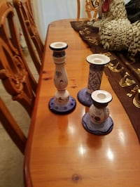 Set of 3 candle holders  Blue and white