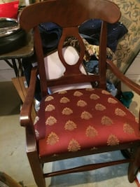 brown wooden framed red padded armchair Camp Hill
