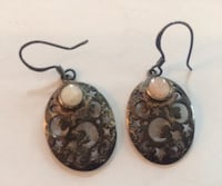 Vintage silver earrings with precious stone Vancouver, V6H 1S7