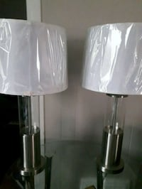 two clear glass base white shade table lamps Regina, S4P 2P7