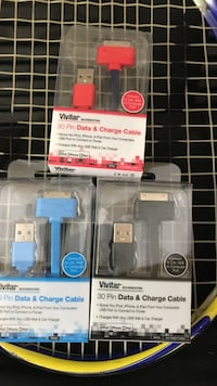 three black,red and blue Vivitar 30pin Data & Charge cable in packs