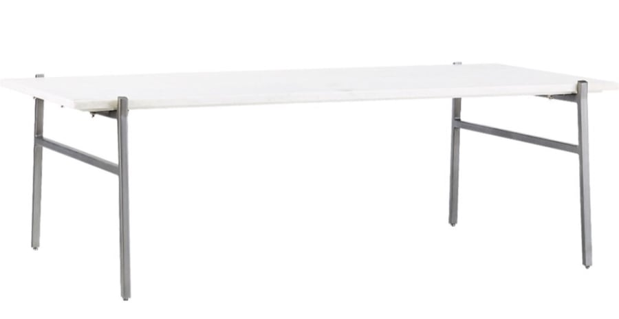 WHITE MARBLE COFFEE TABLE WITH ANTIQUED SILVER BASE 331ccba7-8875-409e-8f25-88a007cc52c3