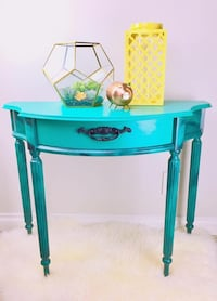 Teal wooden 1-drawer console entry table Mississauga, L5J 4G8