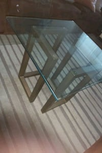 2 glass side table