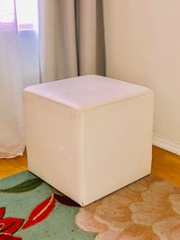 White faux leather block stool  Los Angeles, 90019