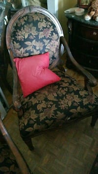 black and brown floral fabric sofa chair Montreal, H3R 3L4