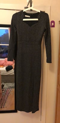 black and gray scoop neck long sleeve dress 史特灵, FK8 1UF
