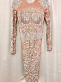 women's brown and white long sleeve dress Indian Head, 20640