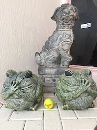 cement garden frog statues. perfect. whimiscal. shipped here from Maine 25 years ago. perfect condition. pair for $100. also listed elephants and buddha heads. Foo dogs NFS   Boca Raton, 33496