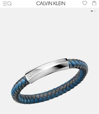 Calvin Klein Men's Bracelet | Genuine Leather | Blue/Gray