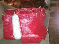 Red vinyl 6 piece tote