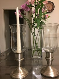 two clear glass candle holders Fort Collins, 80525