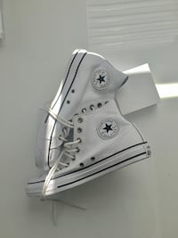 Weiß-und-schwarz Converse All Stars High Top Sneakers perforated leather
