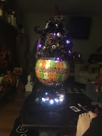 "Halloween Centerpiece 32"" more than 5lbs of packaged candy. Top piece is completely removable. Purple orange and white led lights Fall River, 02720"