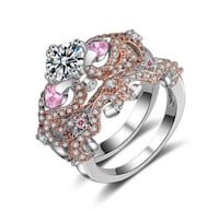 Stunning Pink & White Topaz Sterling Silver pl and Rose Gold Set sz 8 SALE!!!!!! Coleman, 76834
