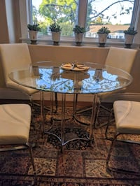 Chrome and Glass round dining table set