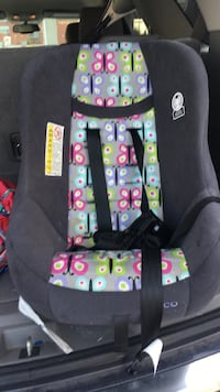 baby's black, green, and purple carseat carrier