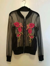 Black Floral See-Through Bomber Jacket Vancouver