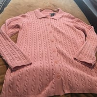 New Denim &Co cotton cable sweater~