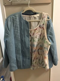 grey button-up cardigan and white and multicolored tank top