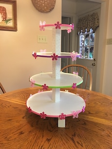 White, pink,and green 4-tier cupcake rack
